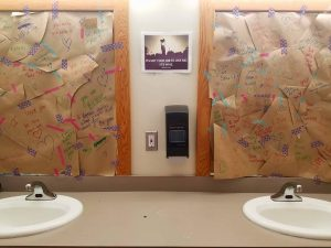 """We practice """"No Body Talk"""" at every session: we cover up the mirrors with positive messages about our character and integrity, and we refrain from commenting on physical appearance throughout camp."""