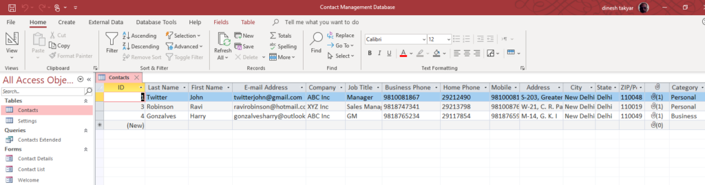 Contacts Table from Contacts Database in Datasheet View