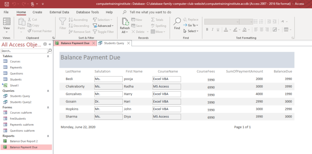 Report on Balance Payment Due