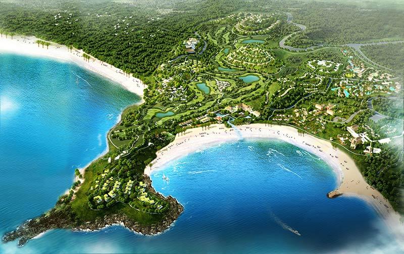 Mandalika Resort rendering of Mandalika Resort from above A'an Bay