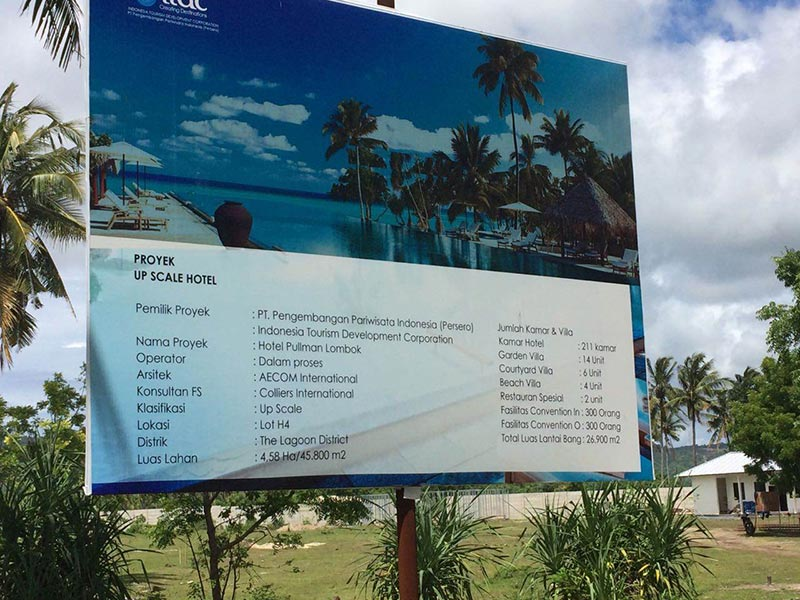 Project signage announcing Mandalika Resort opening Pullman Hotel