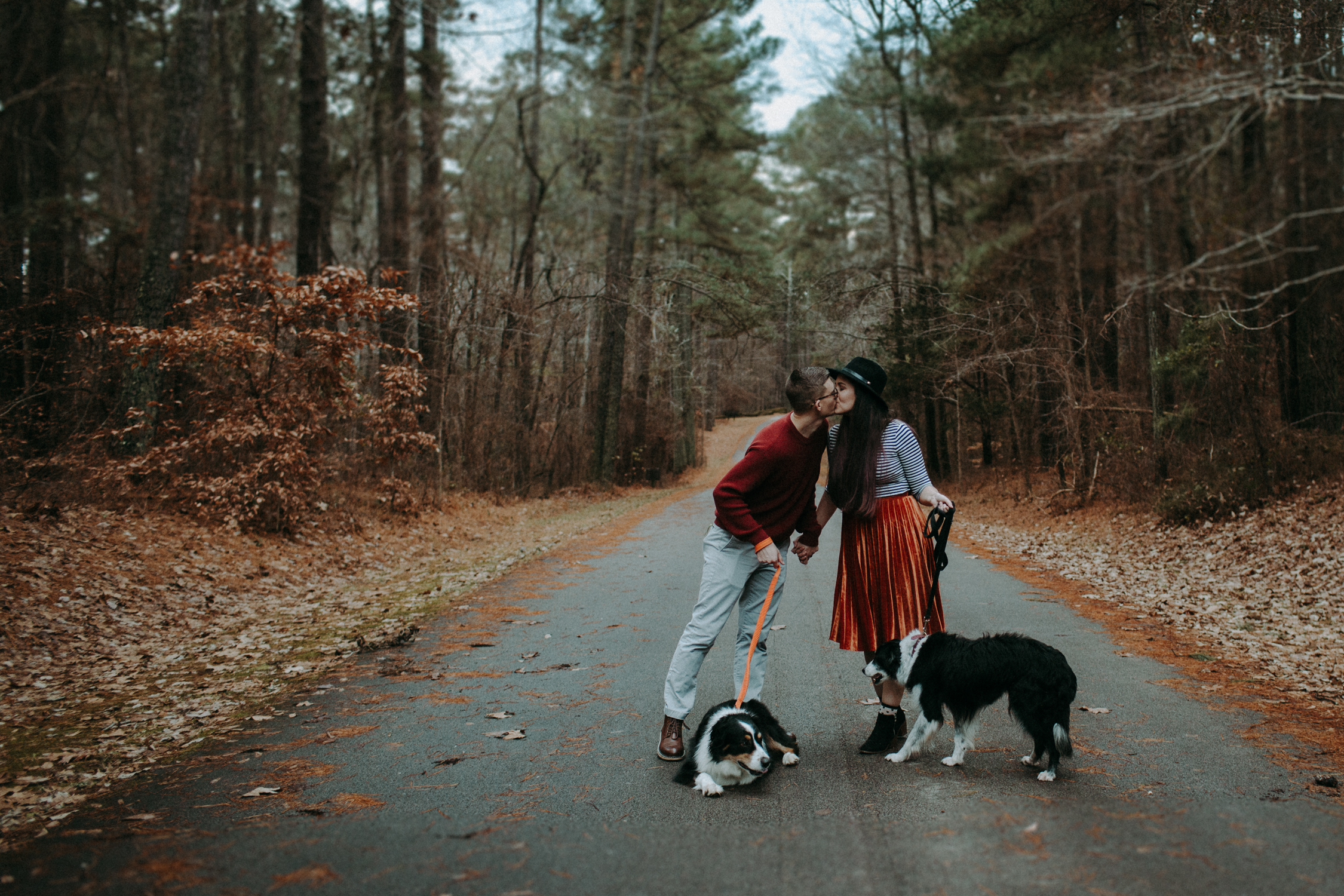 Claudia, Casey & Pups: Umstead State Park Couples Session