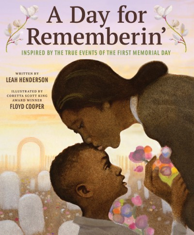 Book cover showing an African American woman kissing her son on the forehead with white gravestones and multicolored flowers in the background.