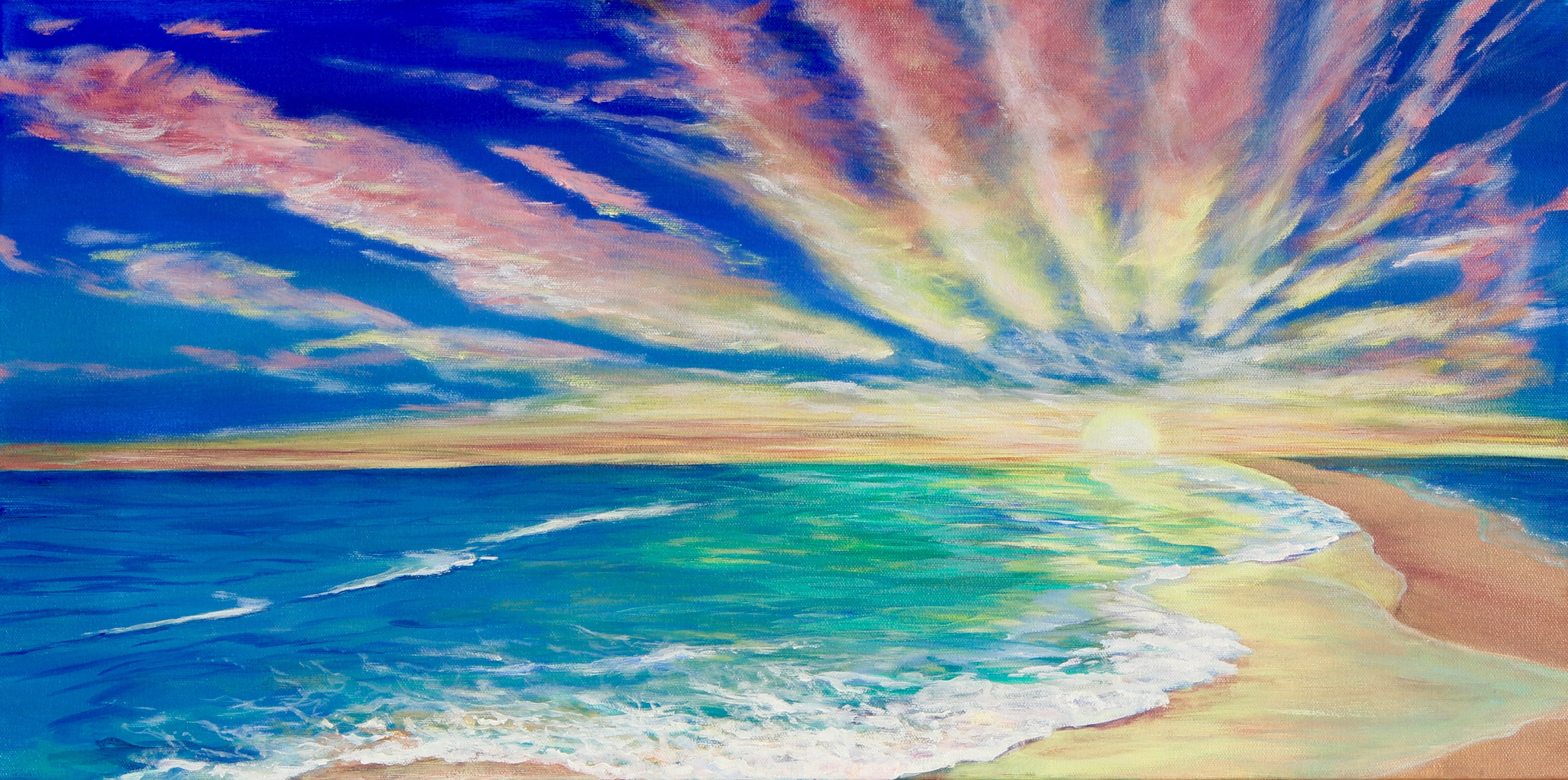 Colorful Feast 15x30 inches acrylic Heather Torres Art