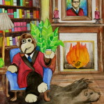 Heather Torres Art | Kazoo | watercolor painting of stuffed monkey wearing smoking jacket and drinking scotch with portrait of man over fireplace.