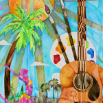 Heather Torres Art | Lush Life Guitar 2 | watercolor painting of the arts, sun, guitar, dancer, art