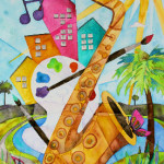 Heather Torres Art | Lush Life Saxophone | watercolor painting of saxophone in the city with paint and sun