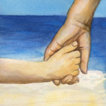 Heather Torres Art | Hands | watercolor painting of child holding mother's hand