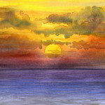Heather Torres Art | Atlantic Sunset | watercolor painting of rainbow sunset