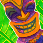 Heather Torres Art | Be Bold | watercolor painting of colorful tiki god