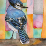 Heather Torres Art | Blue Jay Whimsy | watercolor painting of blue jay