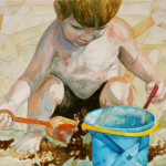 Heather Torres Art | Building Sun Castles | watercolor painting of toddler playing in the sand at the beach
