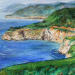Heather Torres Art | Breathe Free | acrylic painting of California coast, US1, and Big Sur