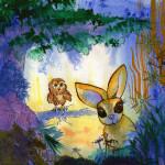 Heather Torres Art | Bunny Owl Fantasy | watercolor illustration of bird and rabbit in woods
