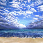 Heather Torres Art |Climatic Atlas |acrylic painting of ocean landscape with blue sky and clouds