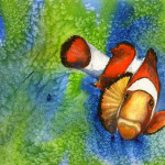 Heather Torres Art | I Found Nemo | watercolor painting of clown fish