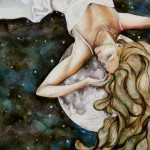 Heather Torres Art | Dreams and Musings | watercolor painting of woman laying on the moon with long flowing hair
