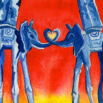 Heather Torres Art | Elephant Heart | watercolor painting of elephants with trunks making heart inspired by Dali