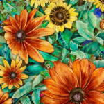 Heather Torres Art | watercolor painting of fall flowers, daisies, and leaves