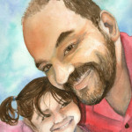 Heather Torres Art | Father Daughter Portrait | watercolor painting of portrait of loving daughter and father