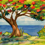Heather Torres Art | Flamboyant Tree | watercolor painting of flamboyant or flamboyan tree