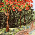 Heather Torres Art | Geometric Flamboyan | watercolor painting of flamboyant or flamboyan tree and path with geometric shapes