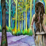 Heather Torres Art | Girl in the Woods | watercolor painting of woman in the woods