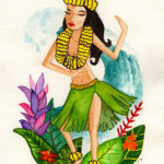 Heather Torres Art | Hula Girl | watercolor illustration of Hawaiian pin up hula girl