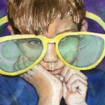 Heather Torres Art | Humor Me | watercolor painting of portrait of young boy wearing large glasses
