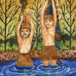 Heather Torres Art | Arrested in Make Believe | watercolor painting of two small boys dressed as indians with whimsical background
