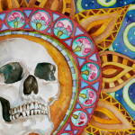 Heather Torres Art | Kaleidoscope of Horror | watercolor painting of skull with colorful whimsical background