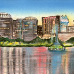 Heather Torres Art | Lake Eola | watercolor painting of Lake Eola in Orlando Florida