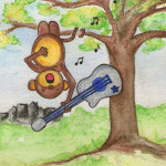 Heather Torres Art | Monkey Upside Down | watercolor illustration of monkey hanging from a tree singing with guitar