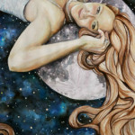 Heather Torres Art | Moon Struck | watercolor painting of woman with long hair laying on the moon, fantasy