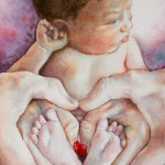 Heather Torres Art | Our Heart | watercolor painting of baby, newborn portrait of feet and hands that make a heart