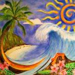Heather Torres Art | Paradise Inspired | watercolor painting of Hawaiian wave , abstract sun