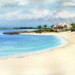 Heather Torres Art | Paradise Island | watercolor painting of Paradise Island in the Bahamas, beach landscape
