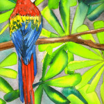 Heather Torres Art | Parrot Whimsy | watercolor painting of parrot and bright leaves