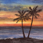 Heather Torres Art | Peaceful Sea | watercolor painting of ocean sunset