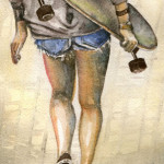 Heather Torres Art | Release | watercolor painting of woman walking with skateboard