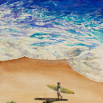 Heather Torres Art | Righteous Surf | watercolor painting of surfer walking on the beach with waves