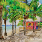 Heather Torres Art | Sojourning | watercolor painting of Grand Turk beach hut surrounded by palm trees