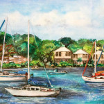 Heather Torres Art | St Johns Retreat | watercolor painting of boats off the coast of St. John island