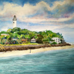 Heather Torres Art | St. Simons Lighthouse | watercolor painting of St Simons Island lighthouse, beach artwork