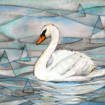 Heather Torres Art | Swan Whimsy | watercolor painting of swan swimming with abstract and triangle background