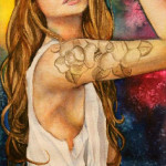 Heather Torres Art | Warrior of Love | watercolor portrait of woman with tattoo, halo, and arrow with colorful background