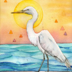 Heather Torres Art | White Egret Whimsy | watercolor painting of white egret with sun, ocean, and triangles