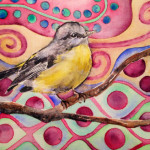 Heather Torres Art | Yellow Bird Whimsy | watercolor painting of yellow bird with background inspired by Klimt