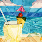 Heather Torres Art | Colada Rays | watercolor painting of pina colada by the ocean with geometric pattern
