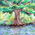Cypress Tree Watercolor, Banyan Tree Watercolor, Tree Watercolor, Tree watercolor painting